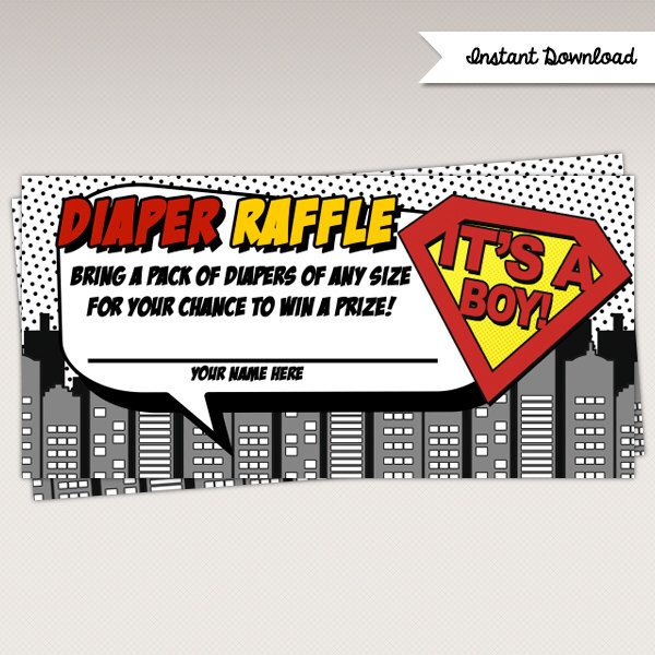 Instant Download - Superhero Baby Shower Diaper Raffle Card - Superheroes Game Card by PNArt on Etsy https://www.etsy.com/listing/224703570/instant-download-superhero-baby-shower