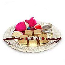 Silver Rakhi Thali n Chocolates