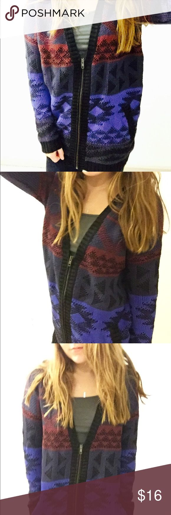Heavy Knit Aztec Zip Cardigan This cranberry, black, grey and blue zip up cardigan is super comfy. Originally made by Old Navy. Size small yet oversized and was never worn. Sweaters Cardigans