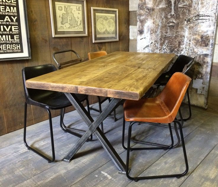 X Frame Vintage Industrial Rustic Reclaimed Plank Top Dining Table..... UK Made | eBay