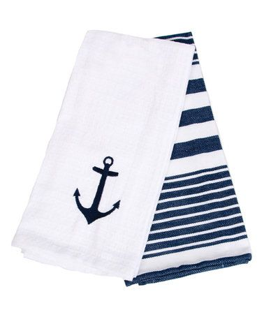This Navy & White Nautical Dish Towel - Set of Two is perfect! #zulilyfinds