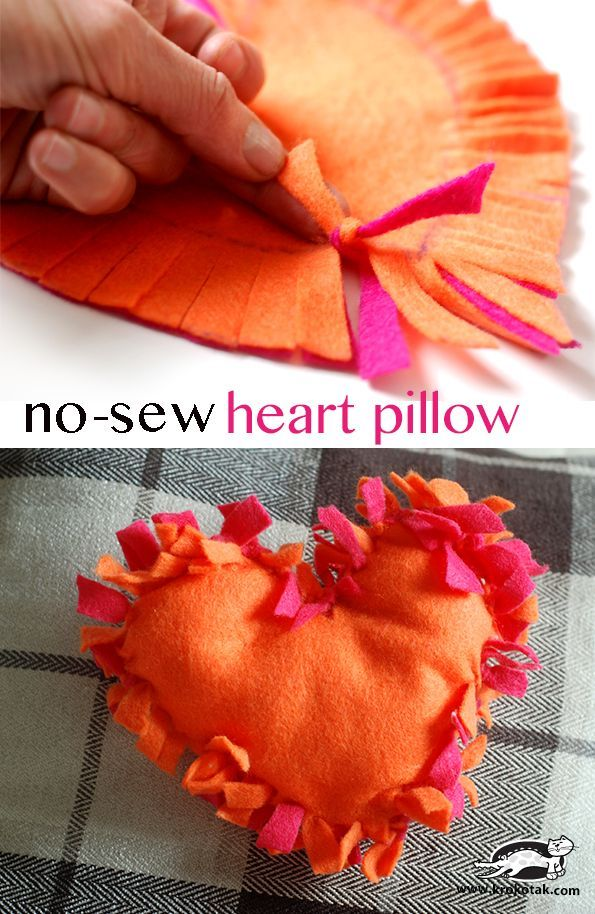 How to make a no sew felt heart pillow #valentinesday #make #pillow What a good technique for kids - not necessarily heart-shaped