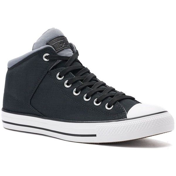 Men's Converse Chuck Taylor All Star High Street Sneakers ($45) ❤ liked on Polyvore featuring men's fashion, men's shoes, men's sneakers, grey, g star mens shoes, mens hi top shoes, mens gray shoes, mens hi tops and mens sneakers