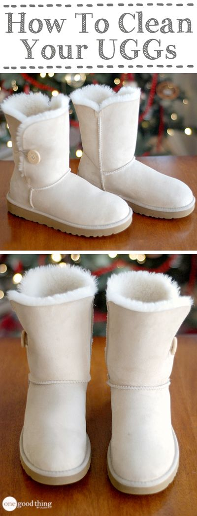 A simple method for cleaning your UGGs (or UGG-style boots) at home, that will have them looking good as new!