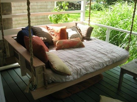 27 ways to re-think your bed --  DIY porch swing bed .... I so want one of these (on a screened in porch)