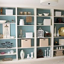 """Hometalk :: I used four Billy bookcases (with extenders) from Ikea to install a wall of """"custom"""" built-ins. Not really a hack, but I still like the idea."""