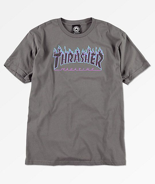 b6badc729b59 Thrasher Flame Logo Grey T-Shirt in 2019
