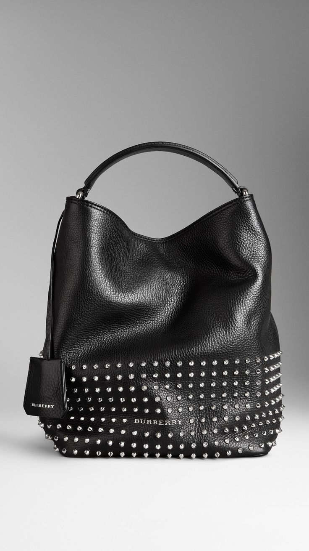 Medium Studded Leather Hobo Bag | Burberry