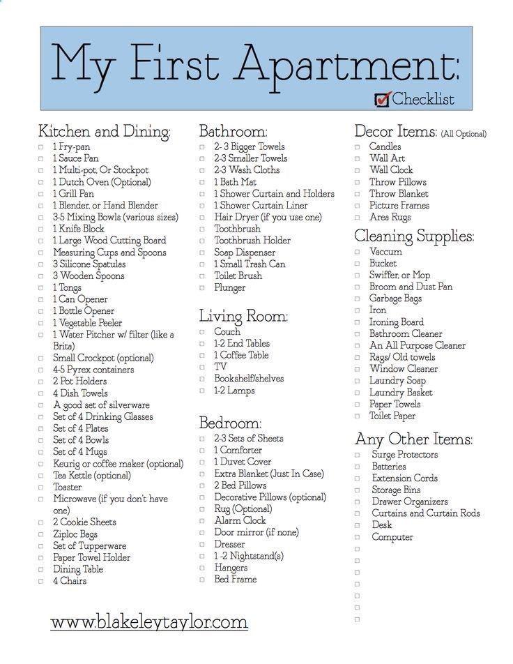 First Apartment House List Apartment Checklist First Apartment