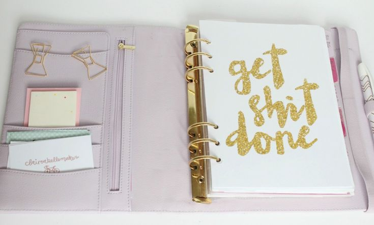 Lilac Gold Planner set up by Claireabellemakes
