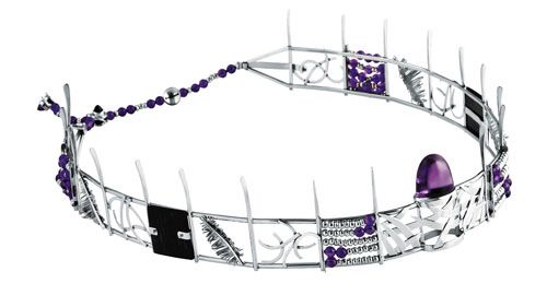 Colleen Schmulow and Absalom Khumalo -platinum headpiece with amethyst