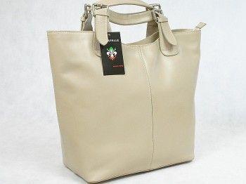 Torebka damska Vera Pelle 5552Włoska torebka typu shopper bag wykonana z naturalnej skóry licowej w kolorze siwo-białym. Mieści format A4.