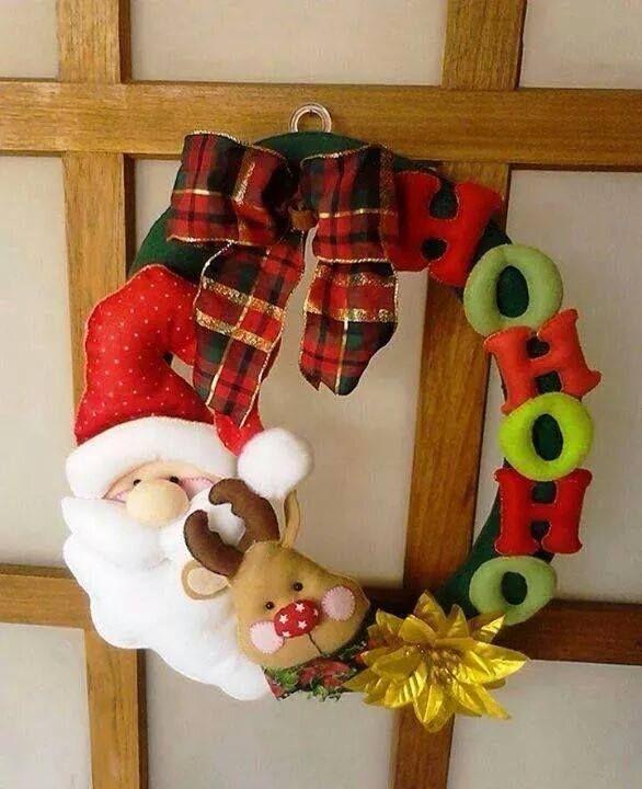 Guirlanda natal natalina em feltro; enfeite de porta em feltro; felt christmas reindeer santa claus