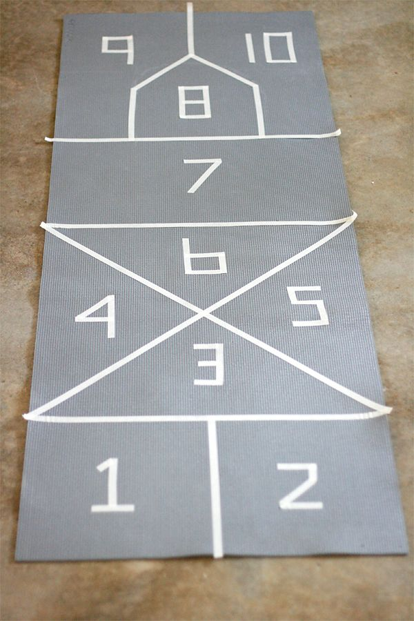 Painting a Yoga Mat Hopscotch