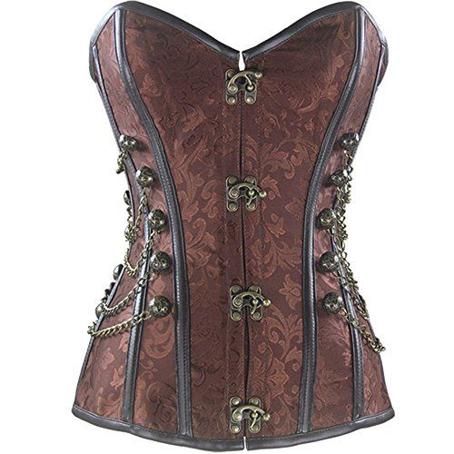 Steampunk - Kiwi-Rata Womens Faux leather Steampunk Spiral steel boning Overbust Corset Brown Size UK 14-16