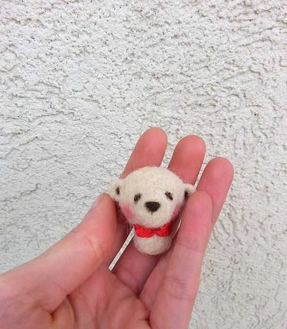 Mini Bear White Bear Red Bow Tie Ribbon Bow Little by BearVillage