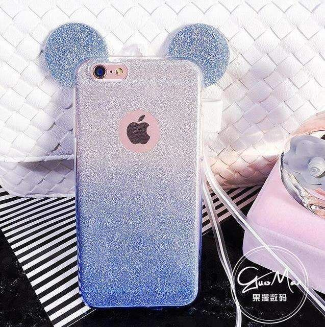 3D Minnie Mickey Mouse Ears silicone Glitter Gradient Case for iPhone 4 4S 5 5S 6 6S 7 Plus Case Cover phone cases #Iphone4Cases