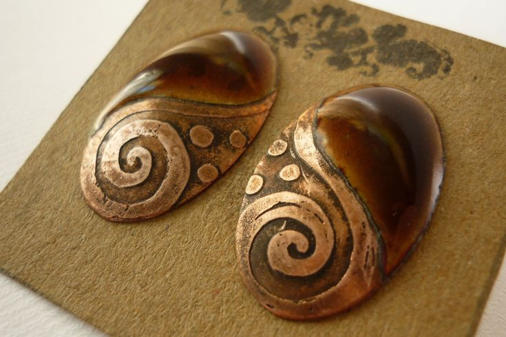 """Penyu""-brown -handmade enamel oval earstuds from handmade by kata by DaWanda.com"