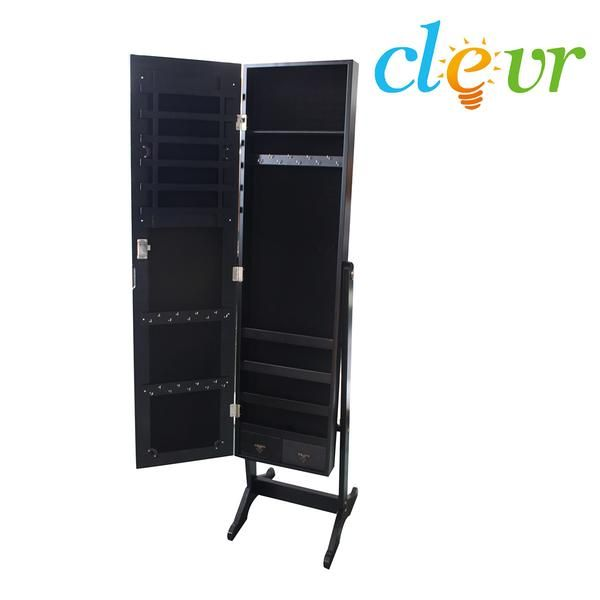 Black Mirrored Jewelry Cabinet With Stand