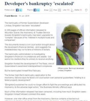 """The bankruptcy of former Queenstown developer Lindsay Singleton has been """"escalated""""."""
