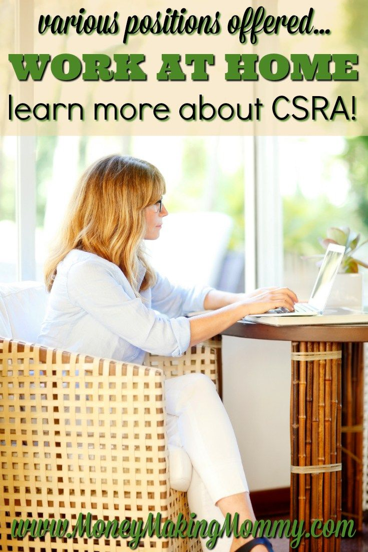 If you're looking for work at home, CSRA offers a variety of home-based jobs. Find out more about employment with CSRA at MoneyMakingMommy.com.