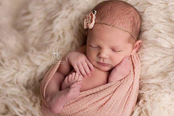 Nouveau-né Peach Fleur Jute bandeau, bébé, fille, accessoires, bandeau, embrasse, photographie prop, fleur, pêche, rose