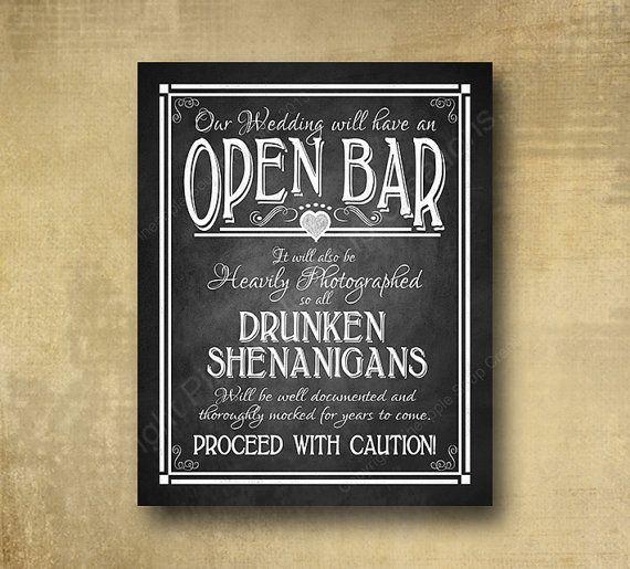 Printed Open Bar Drunken Shenanigans wedding bar sign - chalkboard signage -  with optional add ons