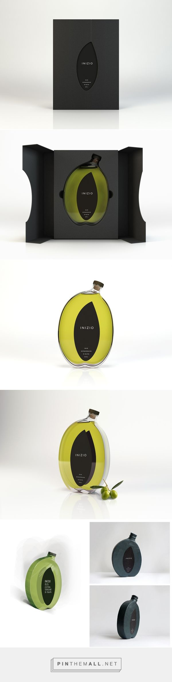 Art direction, branding and packaging for Inizio on Behance curated by Packaging Diva PD. To accentuate how natural the product is we turn to its' origin. For this reason the brand is called Inizio (Italian for beginning), and the package accurately imitates an olive - it's shape, it's color, it's essence.