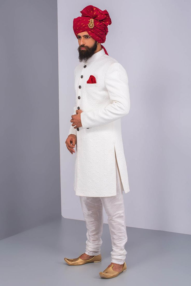 Ekaksh White Textured Achkan With White Chudidar.