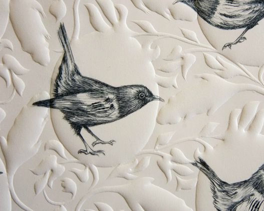 Ben Reid, detail of Hihi, with drypoint birds and relief embossed pattern background.