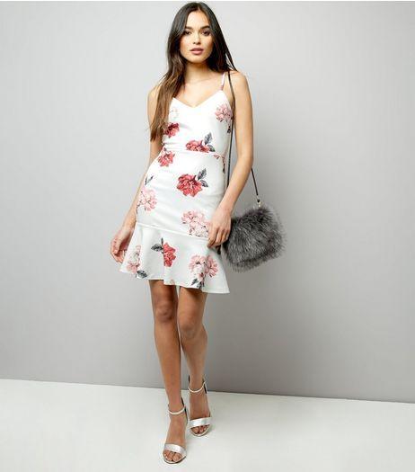White Floral Print Flare Hem Bodycon Dress  | New Look