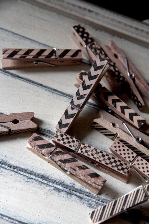 Polka dot, chevron, arrows, stripes - SMALL Clothespins - wedding escort card holder, note holder, photo clipper - patterns (set of 12)