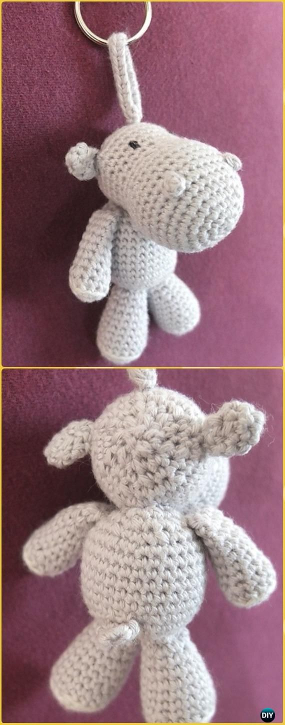 Crochet Amigurumi Tom Hippo Keychain Free Pattern - Amigurumi Crochet Hippo Toy Softies Free Patterns