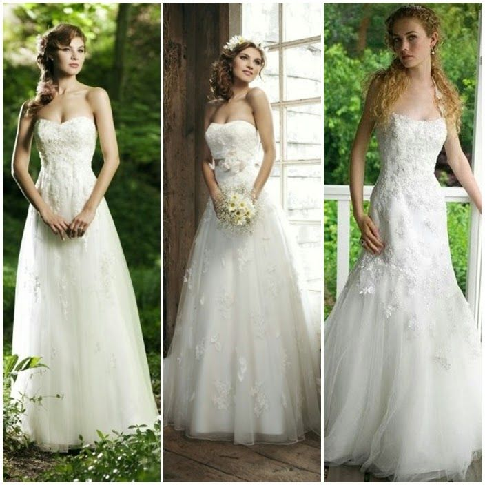 Tulle Strapless Sweetheart Neckline A-Line Wedding Dress with Sweep Train Garden Wedding Dress | For more detail visit our page www.weddingyuki.com