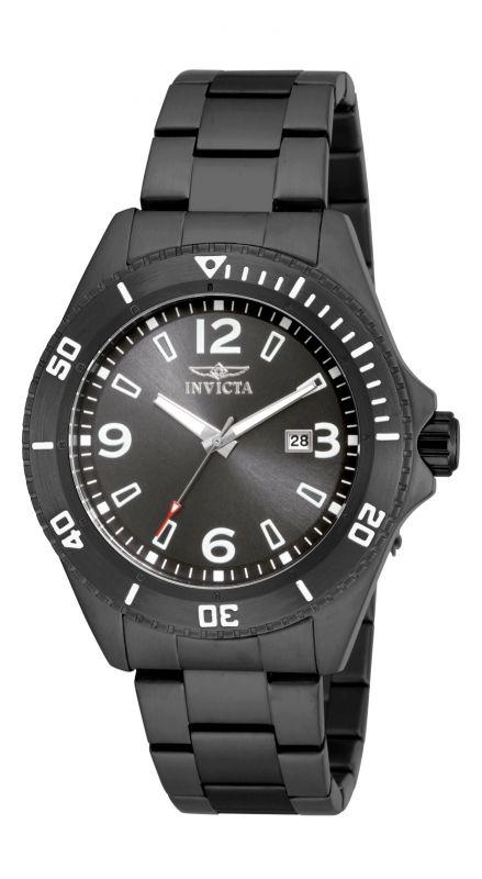 Invicta Pro Diver 16333 un reloj total black con cristal Flame Fusión, fechador y resistencia al agua de 10 atms.