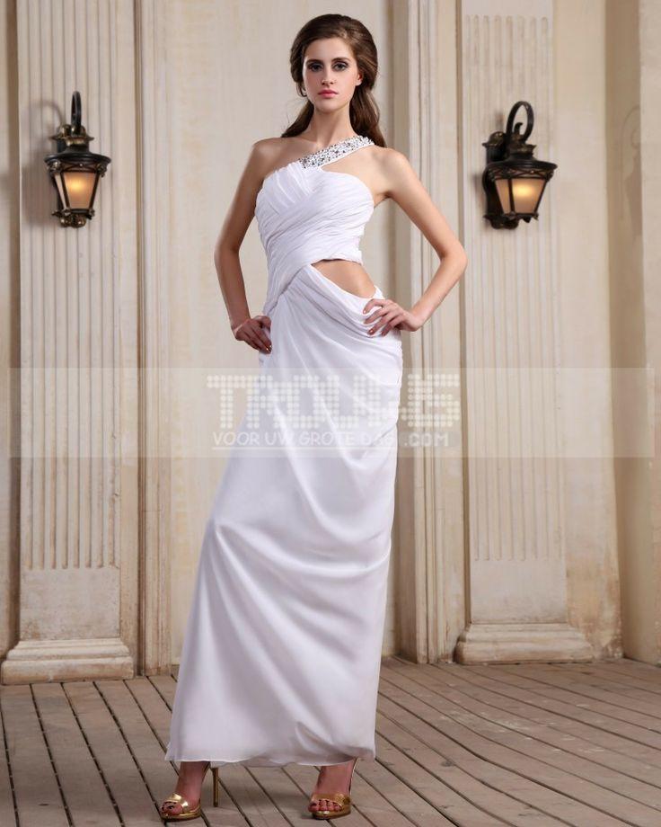 http://no.trouws.com/selskapskjoler-c25 ermelos chiffon beading ruffles en skulder gulv lengde hvite kvelden kjoler - 922.27NOK : TROUWS