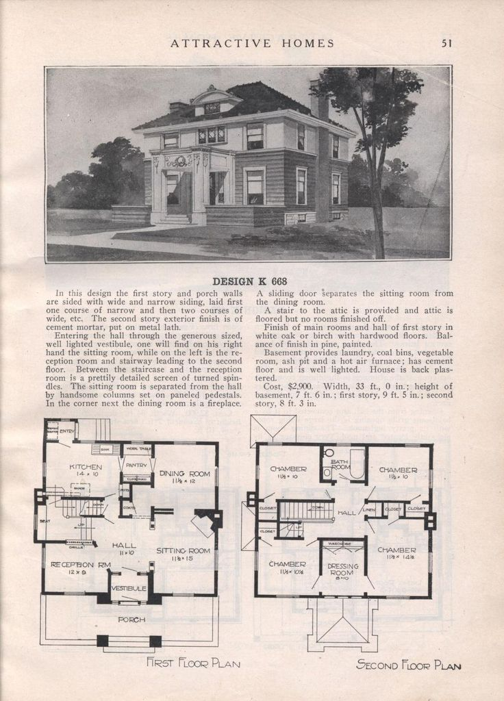 Design K 668 - from Attractive homes by Max L. Keith, Published 1912 192 p. ; ill., plans ; 26 cm. ; trade catalog