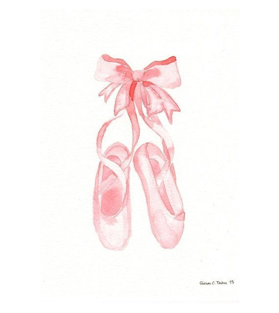 Original watercolor Painting - Pink Ballet Shoes
