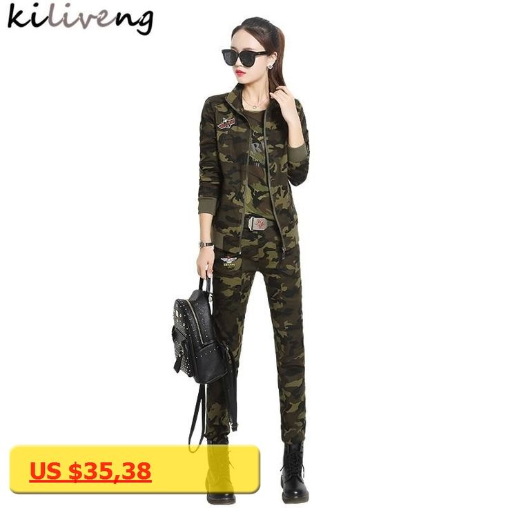 Kiliveng 2 piece set women Camouflage coat pants 2017 new style fall casual camouflage clothes Slim and wrinkle resistant Y715