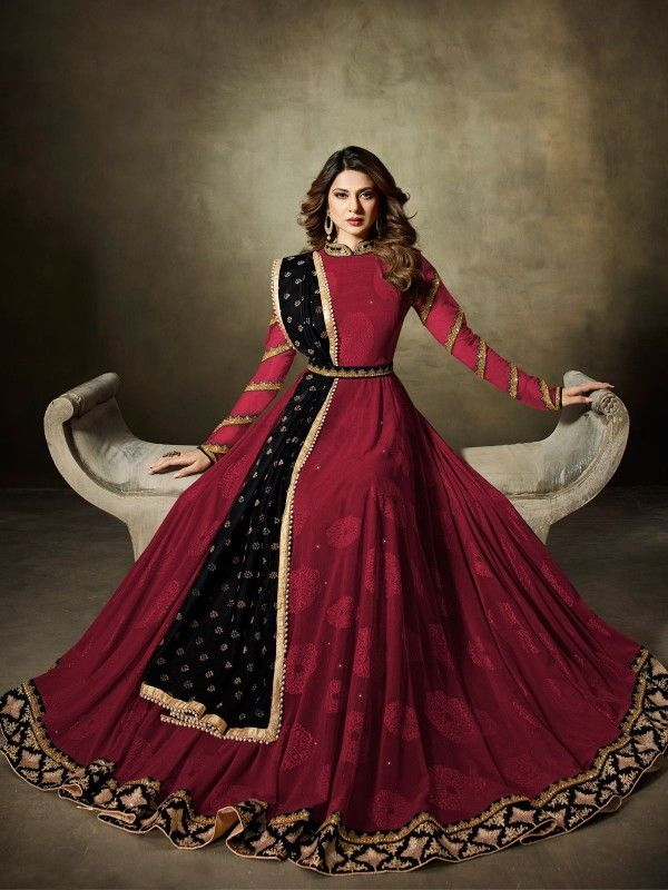 cf7981668f BEAUTIFUL MAROON PARTY WEAR ANARKALI STYLE SUIT | Anarkali Suits in ...