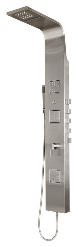 Pulse 1034 Waimea Shower System with Single Function Rain/Waterfall Shower Heads Chrome Faucet Showerpanel Five Handle