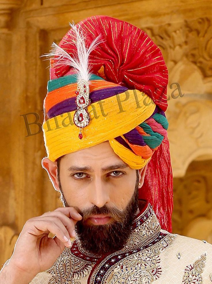 Grandiose multicolor crush fabric #Turban in a new pattern with decorated brooch. Item Code: WT6621 http://www.bharatplaza.com/new-arrivals/accessories.html