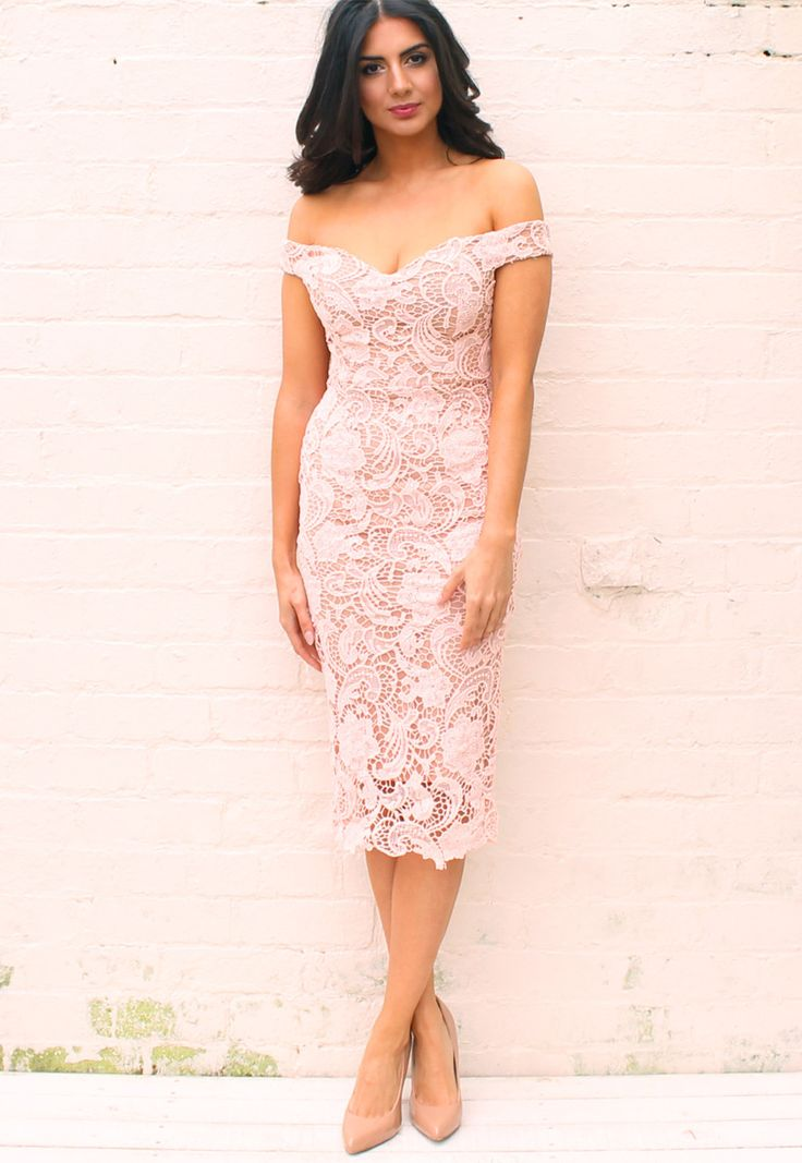 Off The Shoulder Sweetheart Neckline Embroidered Lace Pencil Dress In Blush One Nation