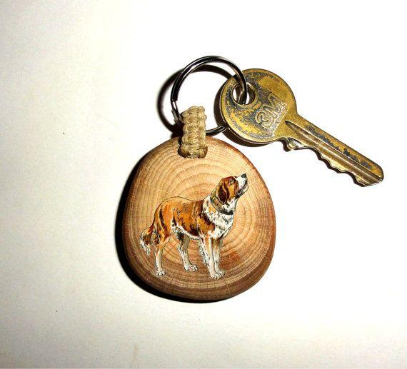 Big Dog Keychain Doggy Keyring. Key Ring Wood Slice. by NayasArt