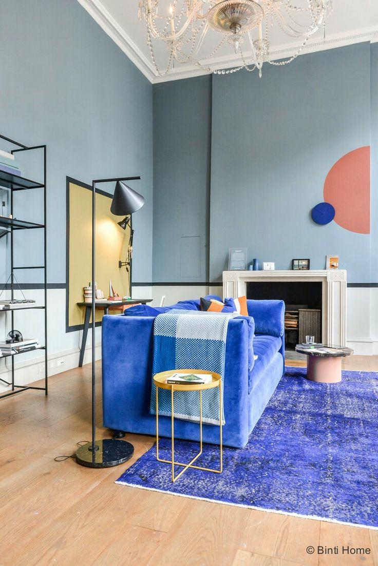 Denim Drift Wall color \ velvet sofa \ side table \ rug \ eclectic \ contemporary \ powder blue \ cerulean \ living room \