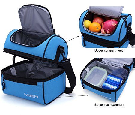 Amazon.com: MIER Adult Lunch Box Blue Insulated Lunch Bag Large Cooler Tote Bag for Men, Women, Double Deck Cooler(Blue): Toys & Games