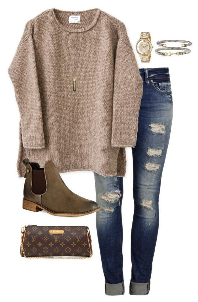 """cold rainy day"" by daniellekenz on Polyvore featuring Mavi, Steve Madden, David Yurman, Marc by Marc Jacobs, Kendra Scott, Louis Vuitton, women's clothing, women, female and woman"