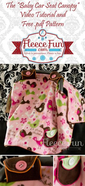 You can make a cover for you baby's car seat.  Free pattern and video tutorial.  Pattern can also be made from cotton.Cars Seats Covers, Cars Seats Canopies, Baby Cars Seats, Free Pattern, Gift Ideas, Baby Shower Gift, Videos Tutorials, Baby Carriers, Baby Car Seats