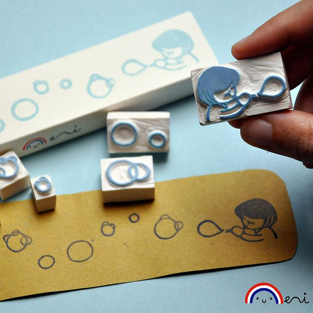 Hand carved rubber stamps by Memi The Rainbow. Blowing Bubbles ..and teapots ¦o)