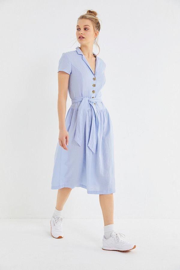 f3f9ec85fcf1 UO Natalie Linen Belted Shirt Dress | New Arrivals | Dresses, Linen shirt  dress, Shirt Dress